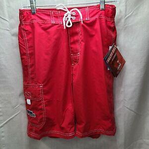 Original Watermen Mens Red Swim Trunk Shorts Boardshorts Lifeguard 28 inch Waist