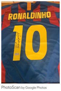 Ronaldinho Hand Signed Barcelona Shirt With Beckett Authenticity Bid From £250