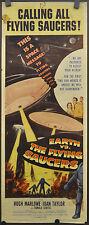 EARTH VS. THE FLYING SAUCERS 1956 ORIGINAL 14X36  MOVIE POSTER HUGH MARLOWE
