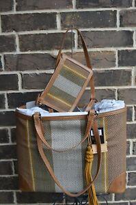NWT $398 Frye Melissa Striped Woven Leather Shopper Tote & Pouch Beige Multi