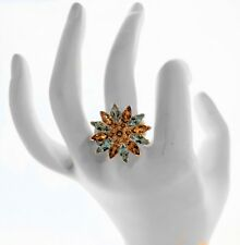 NEW Colorful Gemstone Daisy Ring-Blue Topaz Citrine-Sterling Silver-Any Stone OK