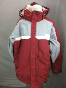 Columbia Convert Size L Mens Red/Gray Full Zip Insulated Hooded Ski Jacket T429