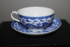 Japanese Blue and White Teacup and Saucer Set Dragon Signed