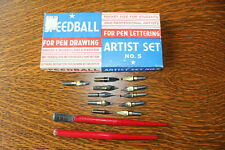 Lot 13 Vintage Speedball Hunt Artists' Calligraphy Dip Pens and Nibs