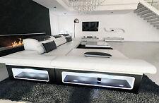 Ledersofa Design Couch MONZA L Form Designersofa Beleuchtung opt Schlaffunktion