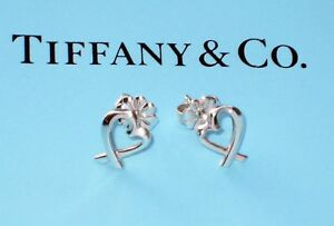 Tiffany & Co Sterling Silver Paloma Picasso Solid Loving Heart Studs Earrings
