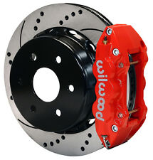 "WILWOOD DISC BRAKE KIT,REAR,00-06 CHEVY TAHOE,GMC YUKON,14"" DRILLED,RED CALIPERS"