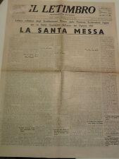 IL LETIMBRO FEBBRAIO 1941 SETTIMANALE CATTOLICO DI SAVONA  I-8-185