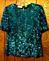Laurence Kazar Turquoise Green Silk Sequin & Beaded Top 100% Silk Top Sz L