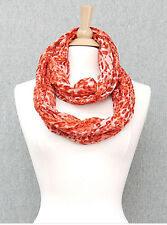 Orange Animal Print Crinkle Infinity Scarf