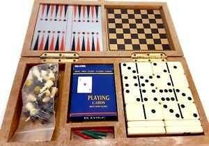 Vintage Game Set w/ Wooden Case Dominos, Checkers, Chess, Backgammon, Cribbage
