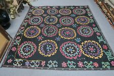 Vintage Hand Embroidery Suzani Textile Uzbek Russian ? Silk on linen Uzbekistan