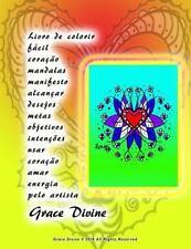 Livro de Colorir Fácil Coração Mandalas Manifesto Alcançar Desejos Metas...