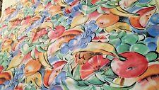 "Summer fruit deco cotton print tablecloth 49"" x 69"" vtg"