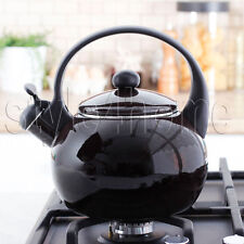 ENAMEL Stainless Steel WHISTLING Kettle 2.2L Electric Gas HOBS Stove Top BROWN
