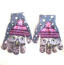 Owl Gloves Mittens Girls Womens Knit Gray White Polka Dot Pink