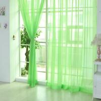 Green Floral Tulle Voile Door Window Curtain Drape Panel Sheer Scarf Divider GA