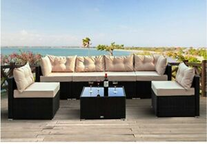 Einfach 7 Pieces Patio Furniture Sets, Rattan Conversation Sofa Chair with Glass