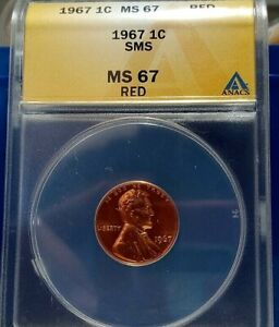 1967 Lincoln Cent (SMS) MS 67 RED