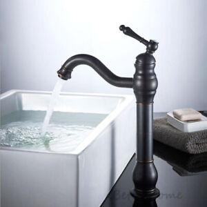 Matte Black Single Lever Bathroom Faucet Swivel Spout Washroom Basin Mixer Taps
