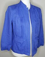 Chicos Jacket Top Size 1 M/8 Blue Open Face Pockets Linen Blend Pleated Casual