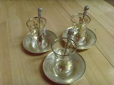 VINTAGE TURKISH TEA GLASSES BRASS SPOONS & SAUCERS, MEVLANA DERVISHES, 9 PIECES