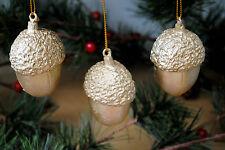 3 Christmas Tree decorations ornaments GOLDEN ACORN resin hanging festive