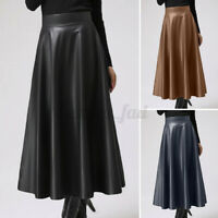 UK Womens Ladies Winter PU Leather High Waist Party Dress A-Line Maxi Skirt 8-26