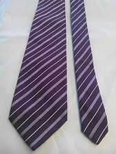 T M Lewin Men's Vintage Silk Tie in Maroon with Silver Stripe