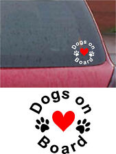 DOGS ON BOARD Car Bumper Sticker Decal vinyl DOG PAW Heart Love