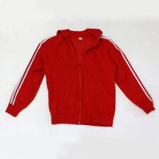 Vintage Adidas Red Zip Up Sweatshirt 3 Stripes Small
