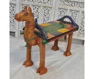 Fine Hand Carved and Painted Hard Wood Camel Shaped Bench Stool