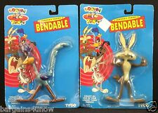 LOT OF 2 TYCO LOONEY TUNES BENDABLE ROADRUNNER WYLIE COYOTE NIP