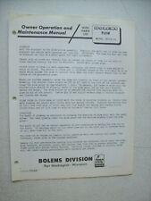 Original Bolens ~ Plow Model 18219-01 ~ Operators Parts List Manual