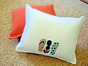 SET OF TWO 12 1/2 X 16 DECORATIVE BEACH THEMED  PILLOWS