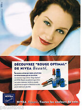 PUBLICITE ADVERTISING 065  1997  NIVEA  maquillage  rouge à lèvres ROUGE OPTIMAL