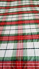 "Plaid red green white picnic polyester tablecloth 52"" x 88"" vtg"