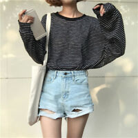 Fashion Women's Korean Casual Stripe T-Shirt Loose Long Bat Sleeve Blouse Tops