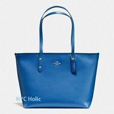 New Coach F57522 City Zip Tote In Crossgrain Leather Lapis Blue Purse NWT