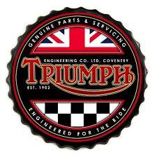 Triumph Motorcycles Retro Bottle Cap Wall Sign - Vintage Bar Garage
