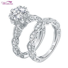 Round White Cz Sterling Silver 5-12 Wedding Engagement Ring Set For Women 2.5ct