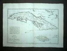 ILE DE CUBA ET JAMAIQUE carte géographique originale ancienne de BONNE 1787