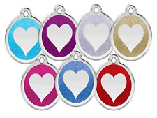 RED DINGO GLITTER ENGRAVED DOG / CAT IDENTITY TAGS Sparkly ID Tag - HEART Logo