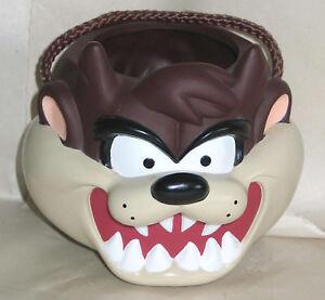"""TAZ Tasmanian Devil Plastic Halloween Treat Pail 1997 Warner Bros 7"""" FREE SH"""