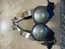 Jf (Ferguson) marked spurs and straps w/large engraved conchos