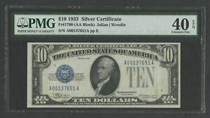 FR1700 $10 1933 SILVER CERTIFICATE PMG 40 EPQ CHOICE XF WLN80