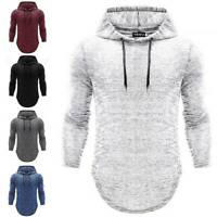 Mens Hooded Tee Muscle Tops Slim Fit Casual Hoodie T-shirt Long Sleeve Pullover