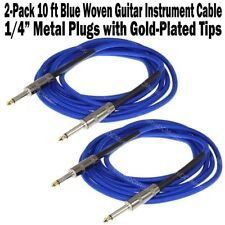 "2-Pack 10 ft Blue Woven Guitar Instrument Cable Cord Patch Gold Tip 1/4"" Plugs"