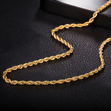"24k Yellow Gold Plated Charms Necklace Cool Link 18"" 3mm Chain Fashion Jewelry"