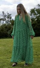 H&M Ladies Green Floral Midi Dress Size Small Blogger Boho Sold Out Everywhere